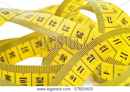 Yellow Tape Measure Isolated On White.