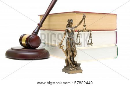 Statue Of Justice, Books And Gavel On White Background