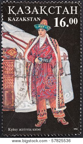 Kazakh Man In National Dress Near Nomad Jurt