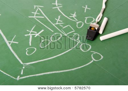 Fooball Play Diagram On Chalkboard