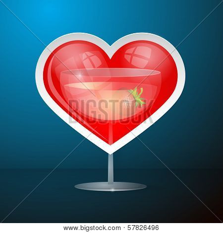 Abstract Vector Red Heart And Drink Glass