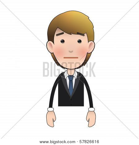 Young Man Surprised Over White Background. Vector Design.