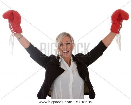 Businesswoman Has Won The Fight red gloves on white