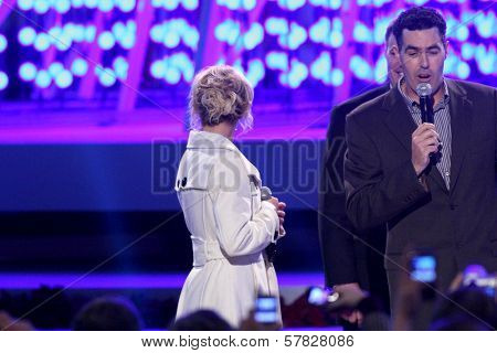 Britney Spears and Adam Carolla   at the Debut of L.A. Live's 'Light of Angels'. L.A. Live, Los Angeles, CA. 12-04-08