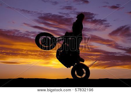 Silhouette Woman Motorcycle Ride Wheelie