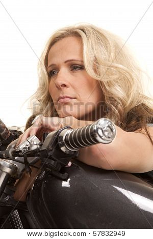 Woman Lay On Motorcycle Tank Look Forward