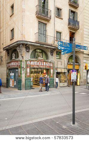 Modernist pharmacy in La Rambla street, Barcelona