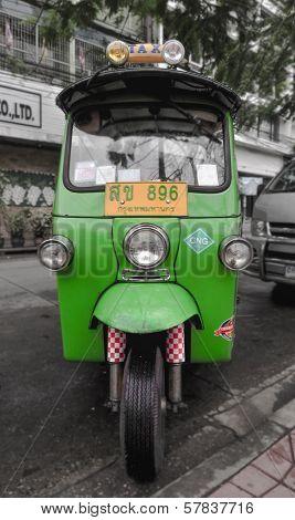 Bangkok - June 14: Tuk-tuk Moto Taxi On The Street In The Chinatown Area On June 14, 2011 In Bangkok