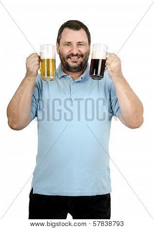Bearded Man Raised Two Mugs Of Beer