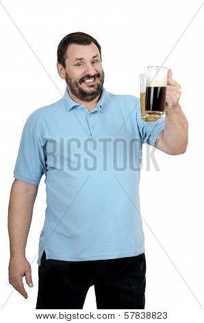 Bearded Man In Blue Shirt Invites To Beer Festival