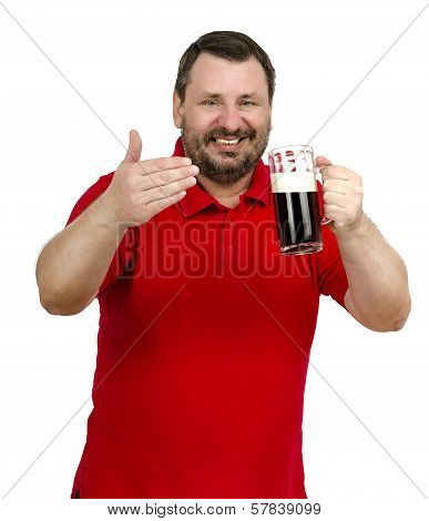 Bearded Man Holds Stout Mug