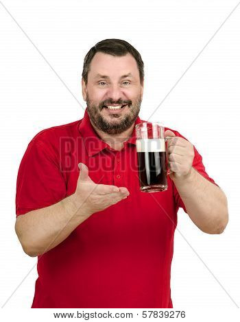 Man Intends To Drink A Dark Beer