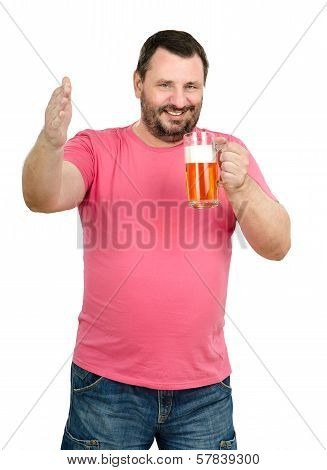 Happy Smiling Man Holds Light Ale Glass
