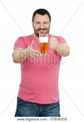 Bearded Man Holds Light Beer Mug