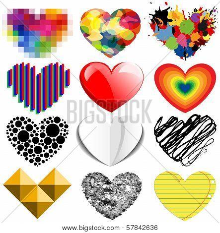 Set of twelve hearts