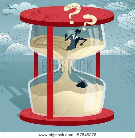 Abstract Businesswoman Trapped In Egg Timer.