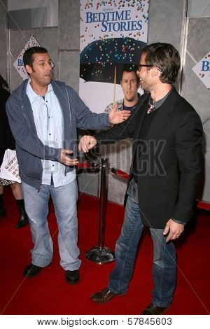Adam Sandler and Guy Pearce   at the Los Angeles Premiere of 'Bedtime Stories'. El Capitan Theatre, Hollywood, CA. 12-18-08