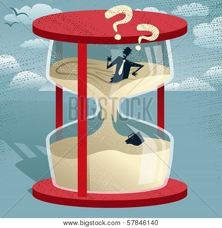 Abstract Businessman Trapped In Egg Timer.
