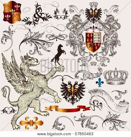 Set Of  Heraldic Design  Elements With Shield, Crown, Griffin And Fleur De Lis
