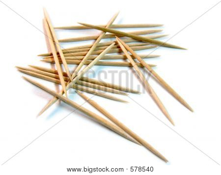 Fun With Cocktail Sticks/Toothpicks - Scattered On White