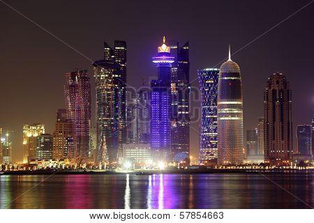 Doha Downtown Skyline At Night