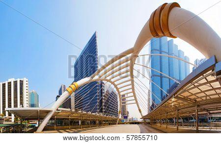 Bridge Link Between Mrt And Bts Mass Transportation In Heart Of Bangkok Newly Modern Important Land