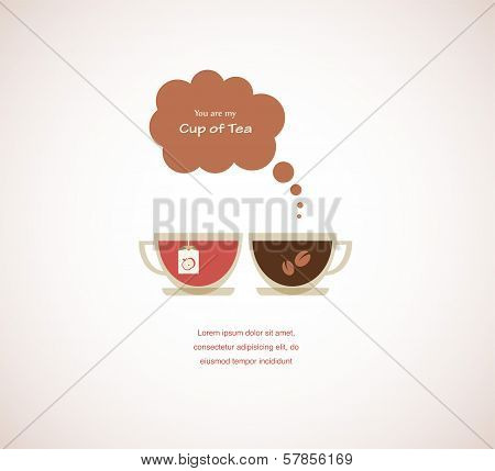 coffee and tea cups on Valentines card