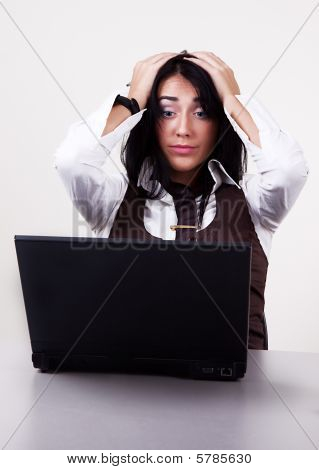 Portrait Of Attractive Stressed Businesswoman