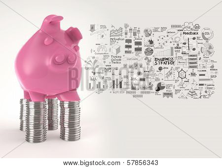 Pink Piggy Bank 3D Standing Over Coin And Hand Drawn Business Stategy