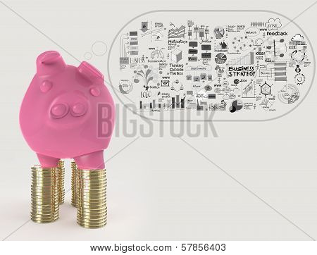 Pink Piggy Bank 3D Standing Over Coin And Hand Drawn Business Stategy As Concept