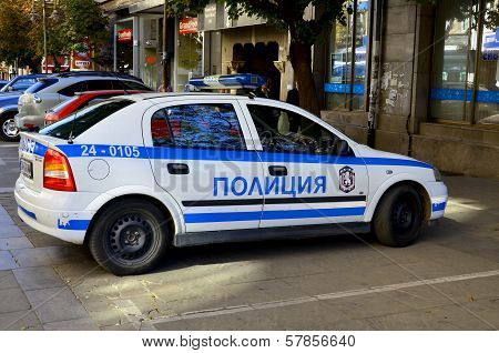 Police car downtown Sofia