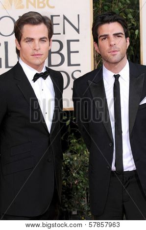 Chris Pine and Zachary Quinto at the 66th Annual Golden Globe Awards. Beverly Hilton Hotel, Beverly Hills, CA. 01-11-09
