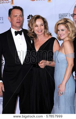 Tom Hanks with Jessica Lange and Drew Barrymore in the press room at the 66th Annual Golden Globe Awards. Beverly Hilton Hotel, Beverly Hills, CA. 01-11-09