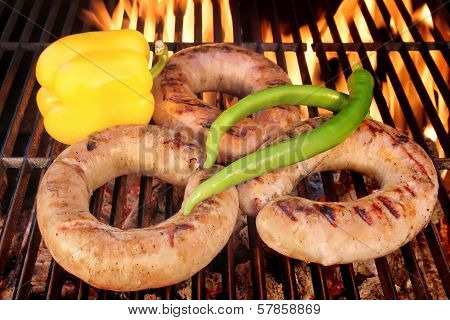 Sizzle Sausages On The Barbecue Grill Xxxl