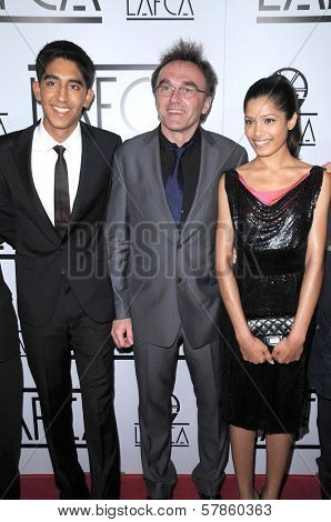 Dev Patel with Danny Boyle and Freida Pinto  at the 34th Annual Los Angeles Film Critics Awards. Intercontinental Hotel, Century City, CA. 01-12-09