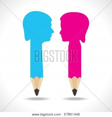 Male and female face make a pencil