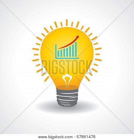 Light bulb with business graph