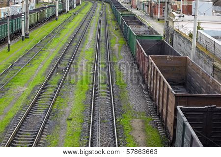 Goods Wagons With Coal Dust