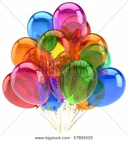 Balloons party birthday balloon decoration colorful translucent. Happy joy fun positive good emotion