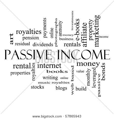 Passive Income Word Cloud Concept In Black And White