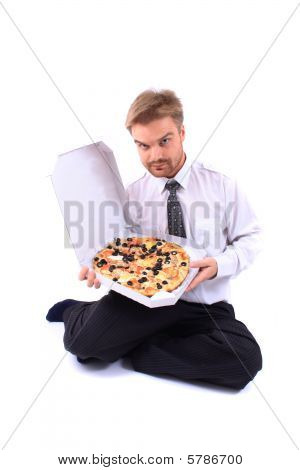 Businessman And Pizza