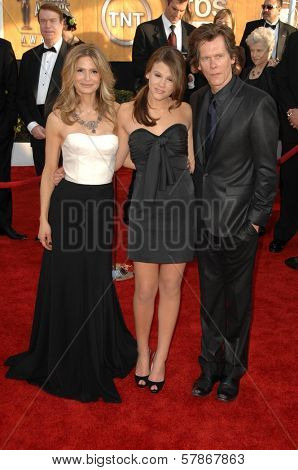 Kyra Sedgwick with Sosie Bacon and Kevin Bacon at the 15th Annual Screen Actors Guild Awards. Shrine Auditorium, Los Angeles, CA. 01-25-09