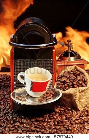 Capsule Coffee Machine With  Espresso Cup Near Fireplace