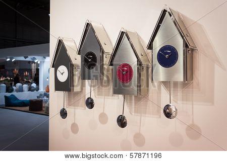 Modern Pendulum Clocks On Display At Homi, Home International Show In Milan, Italy