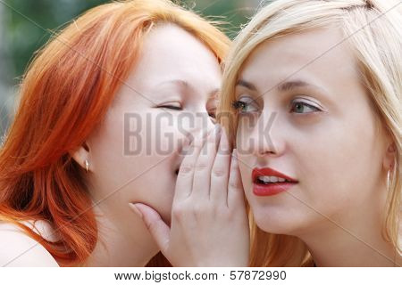 Two Beautiful Girls Whisper And Secretive In Park At Summer Day
