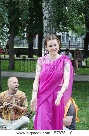 Perm, Russia - Jun 10, 2012: Krishna Worshipers Dance And Sing In Square Of Ural Volunteers.