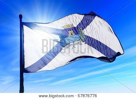 Fortaleza city (Brazil) flag waving on the wind