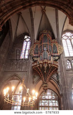 Candleholder And Organ Of Strasbourg Cathedral