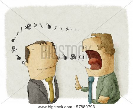 angry boss with employee