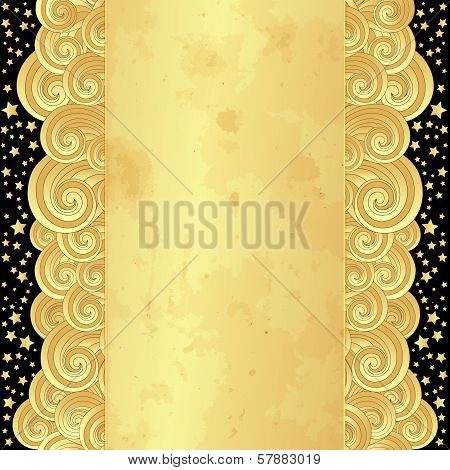 Gold Frame With Old Paper And Stars